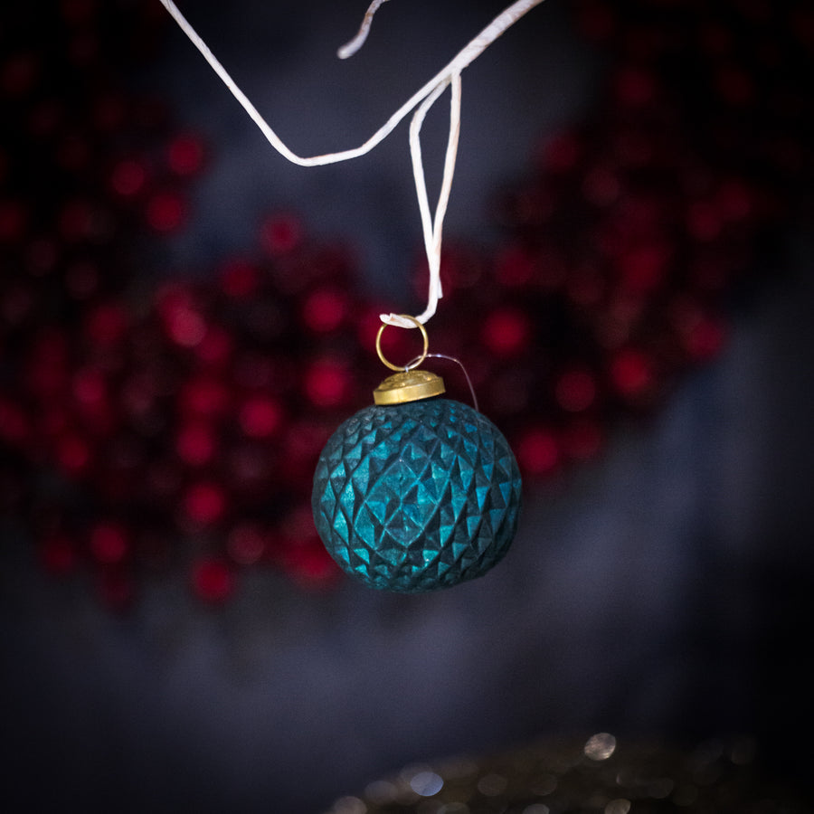 Teal patterned ball ornament