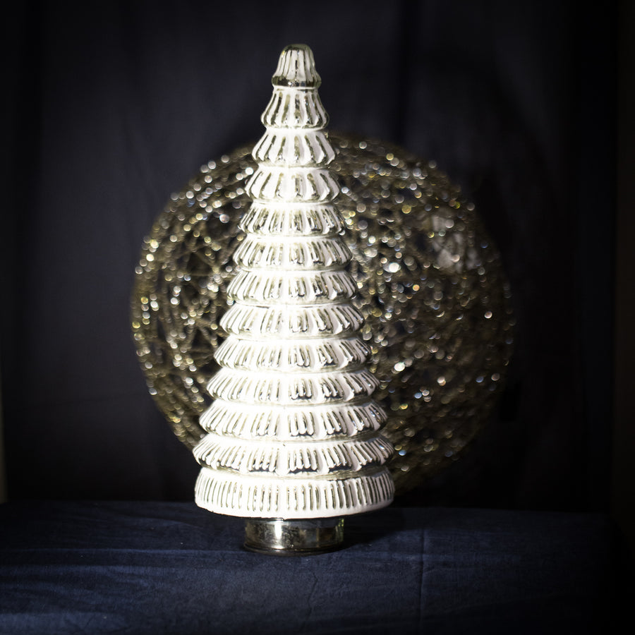 Large white frosted glass tree light