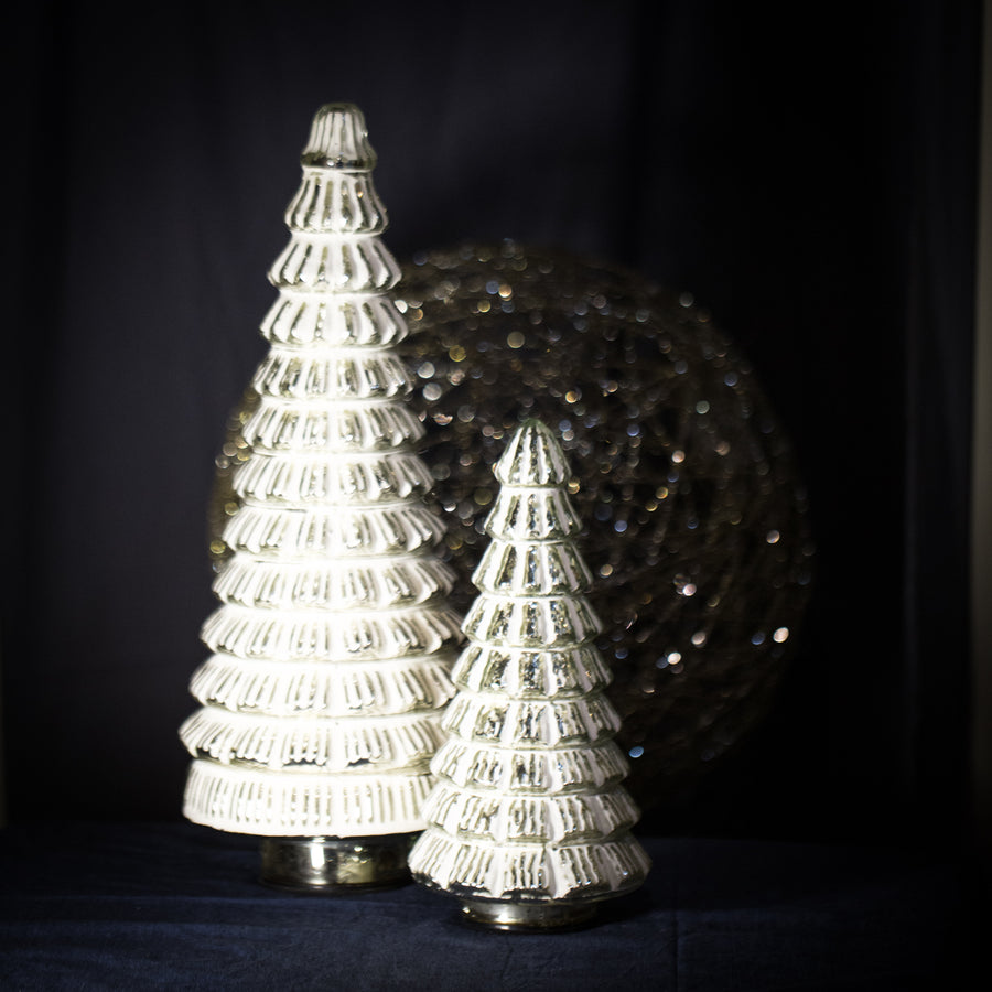 Medium white frosted glass tree light