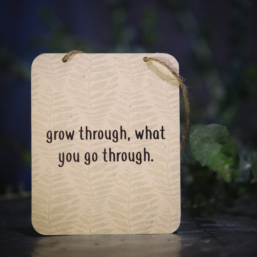 """ grow through what you go through"" sign"