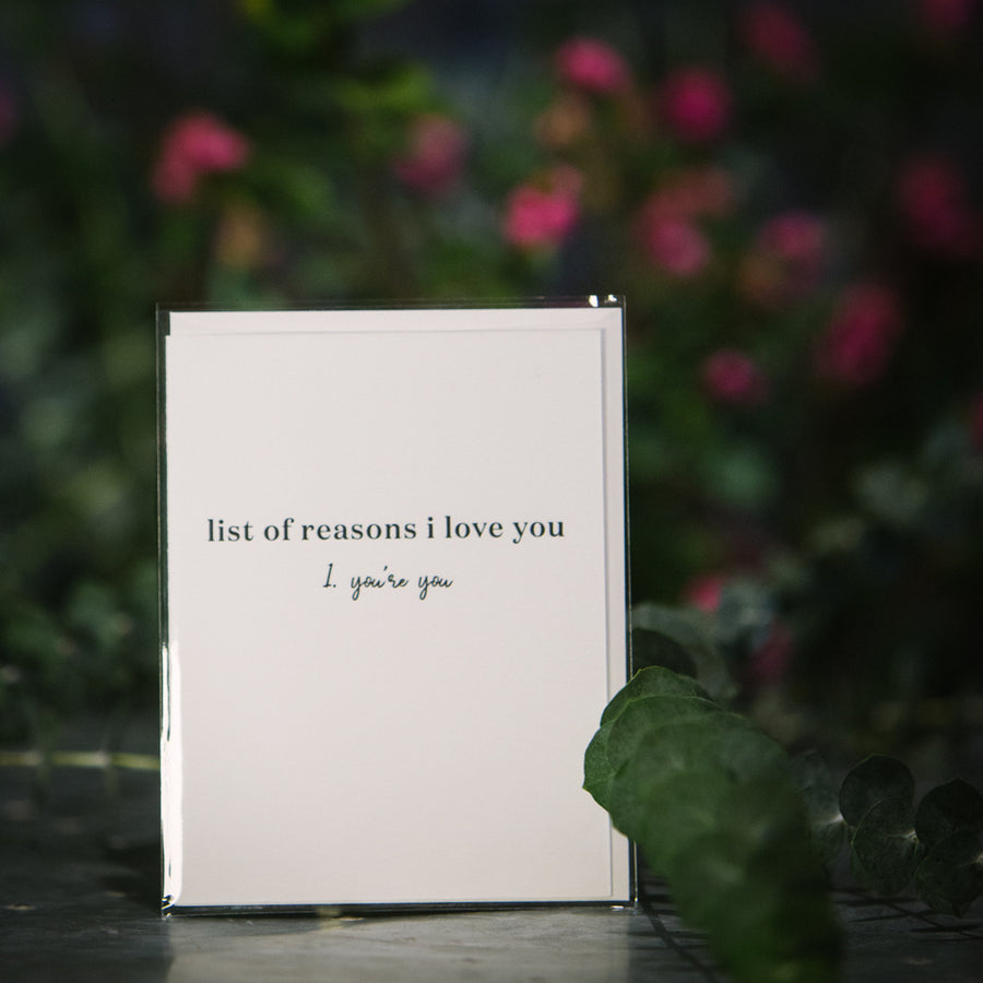 """List of Reasons..."" Card"