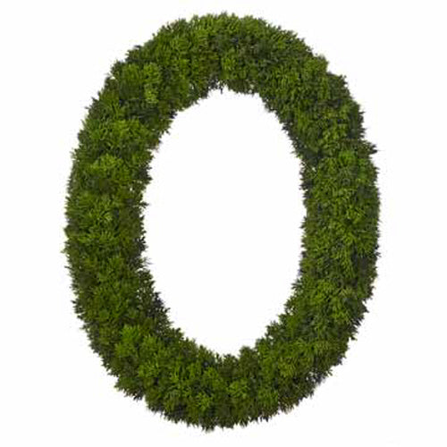 "30"" Artificial Oval Cedar Wreath"