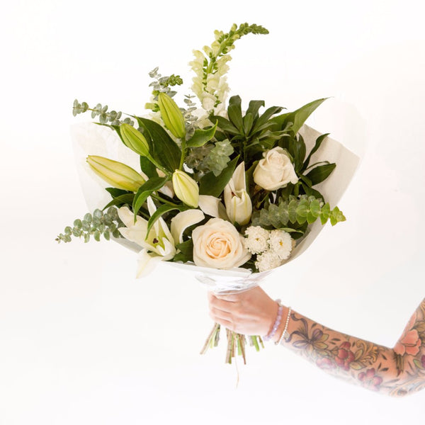 Fleurish Signature Hand Tied Bouquet | White & Green