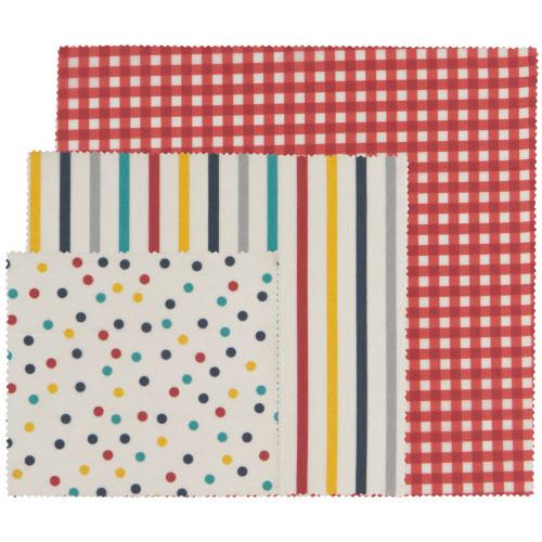 Reusable Beeswax Wrap Set of 3 - Gingham/ Dot/ Stripe
