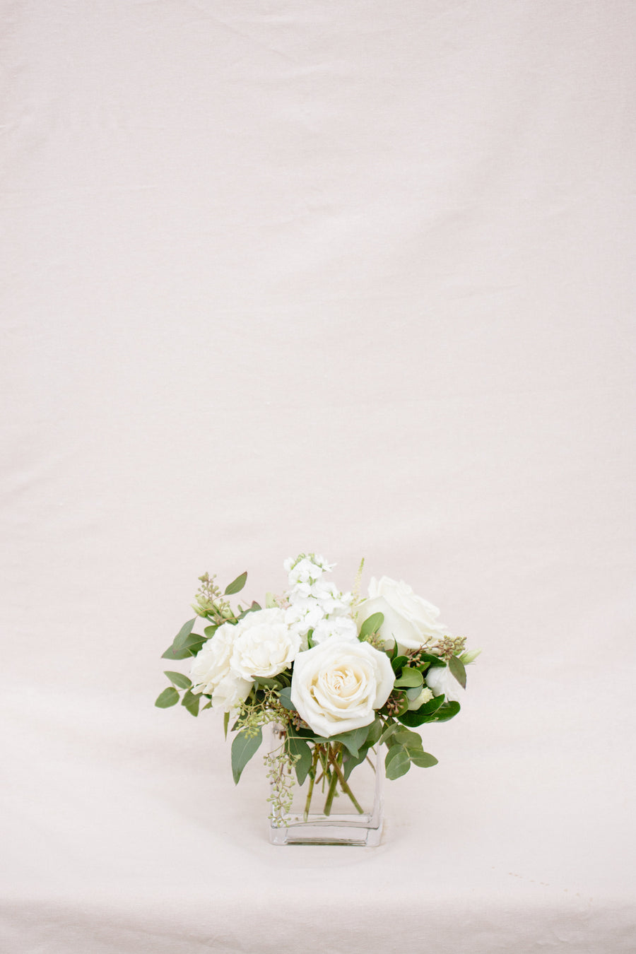 Vase Arrangement in a White & Green Colour Palette