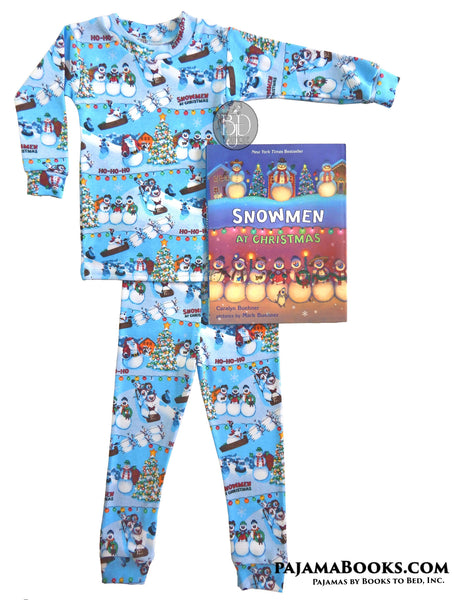 Snowmen at Christmas Pajamas and Book Gift Set