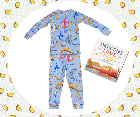 "Age: 5-6X/7 ""Dragons Love Tacos"" Book and Pajamas"