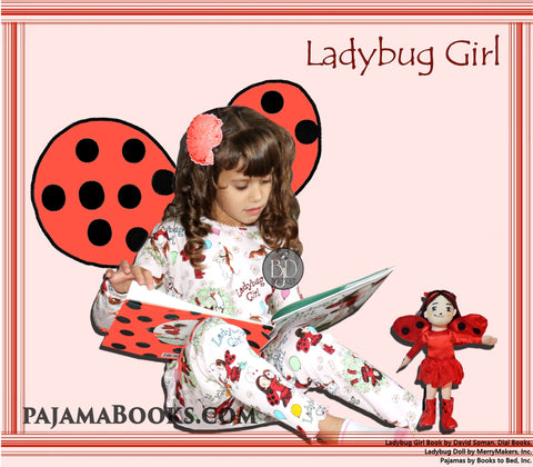 Girls Set Book, PJ's and Doll Ladybug Girl