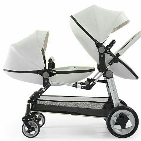 Belecoo Luxury Eggshell Twin Stroller - White