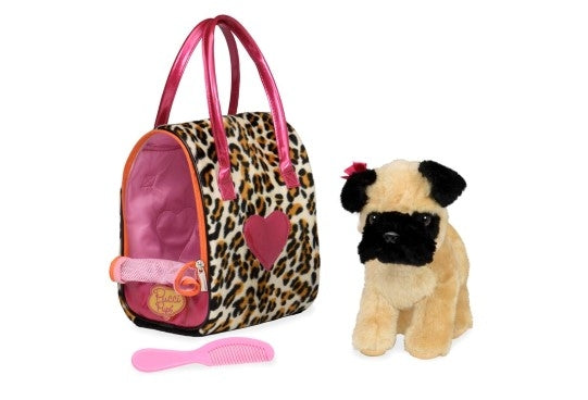 Pucci Pups - Leopard Plush Glam Bag & Pug