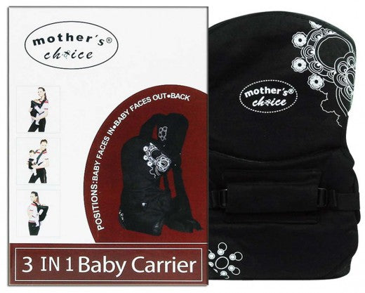 3 Way Printed Baby Carrier - Black