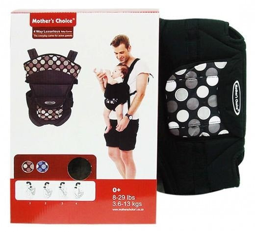 4 Way Luxury Baby Carrier - Black Circles