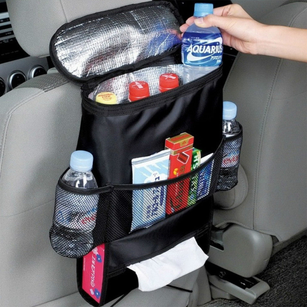 Back Seat Car Organizer with Cooler Bag - Black