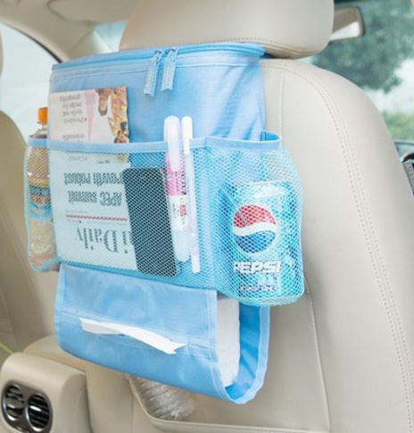 Back Seat Car Organizer with Cooler Bag - Blue