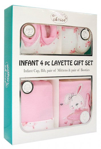 Infant 4 Piece Layette Gift Set - Bunny