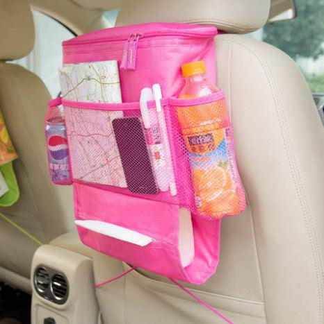 Back Seat Car Organizer with Cooler Bag - Pink