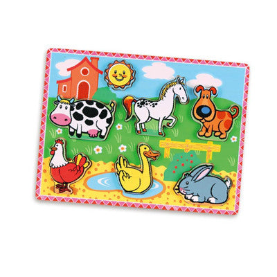 Extra-Thick Wooden Puzzle - Farm Animals (Age 18 Months+)