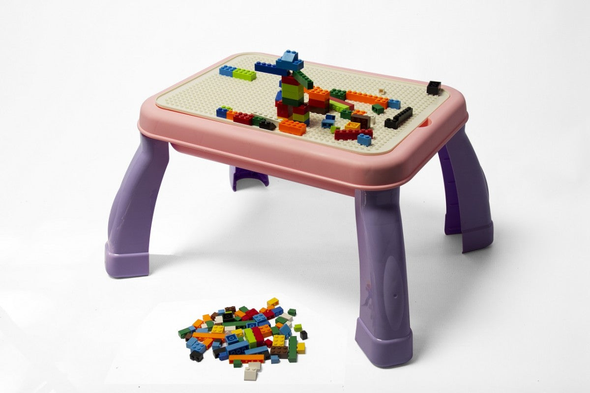 2-in-1 Drawing & Building Table - Purple/Pink