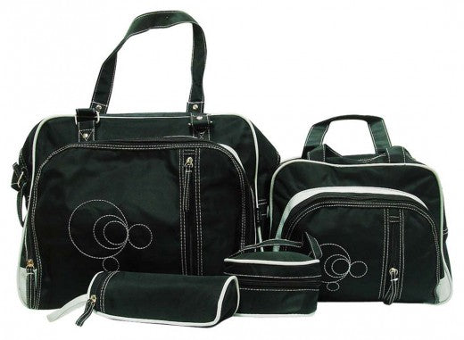 Multi Function Baby Bag Set - Black Circle