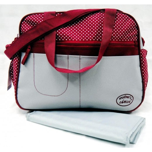 Microfibre Diaper Bag & Changing Mat - Red Polka Dot