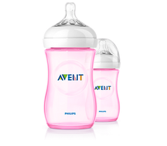 Avent - Twin Pack Natural Feeding Bottle/Pink - 260ml