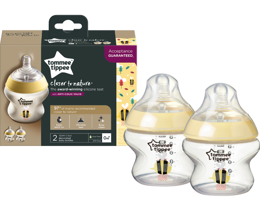 Tommee Tippee Closer To Nature - 150ML BOTTLE 2 PACK 0M+ - Decorated