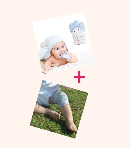 COMBO DEAL - 1 x Baby Teething Mitten & 2 Pairs Baby Knee Pads