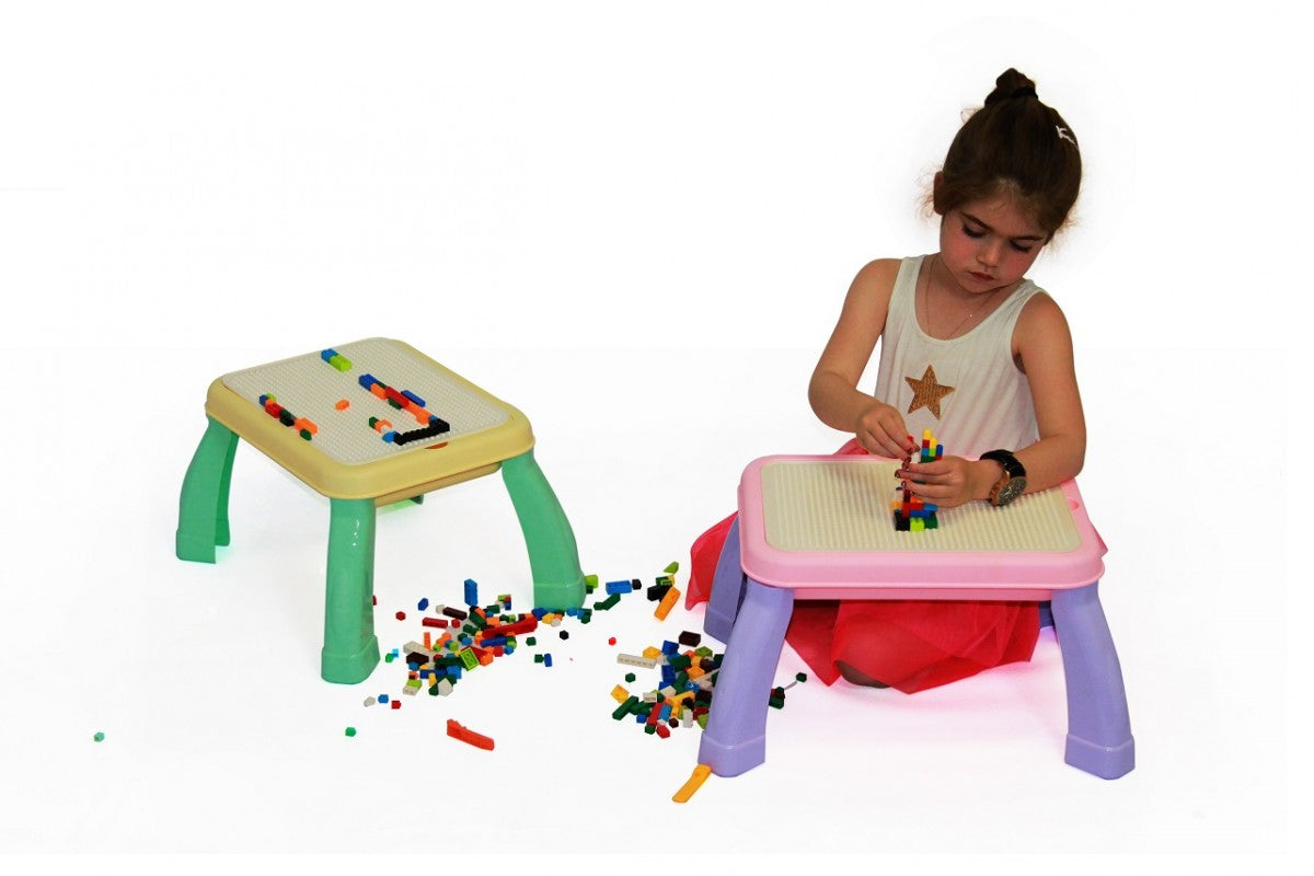 2-in-1 Drawing & Building Table - Blue/Crème