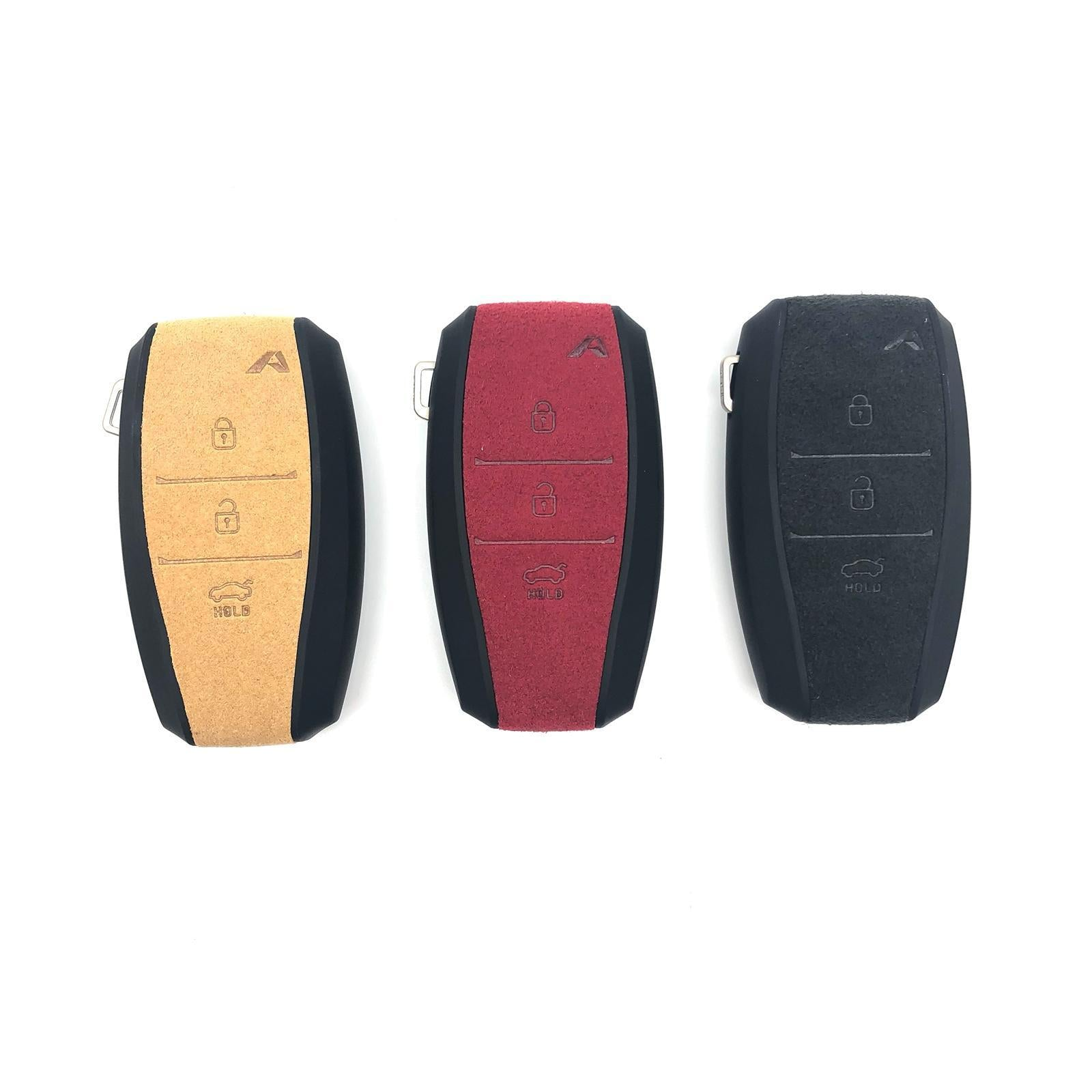 Aegis Aero Alcantara Leather Hyundai I30 (2600) 3 Button Smart Key Case - GRAY