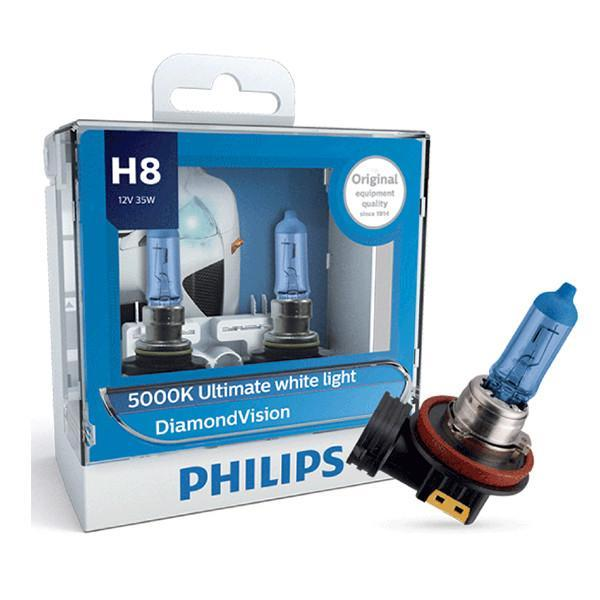 Philips Headlamp H8 DiamondVision 5000K Ultimate White Light 12360DV 12V 55W