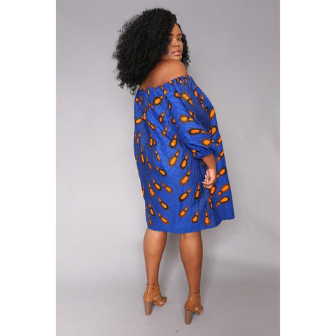 Wurah Off Shoulder dress - Blue