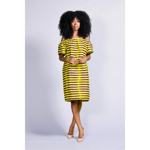 Simi ankara off-shoulder dress