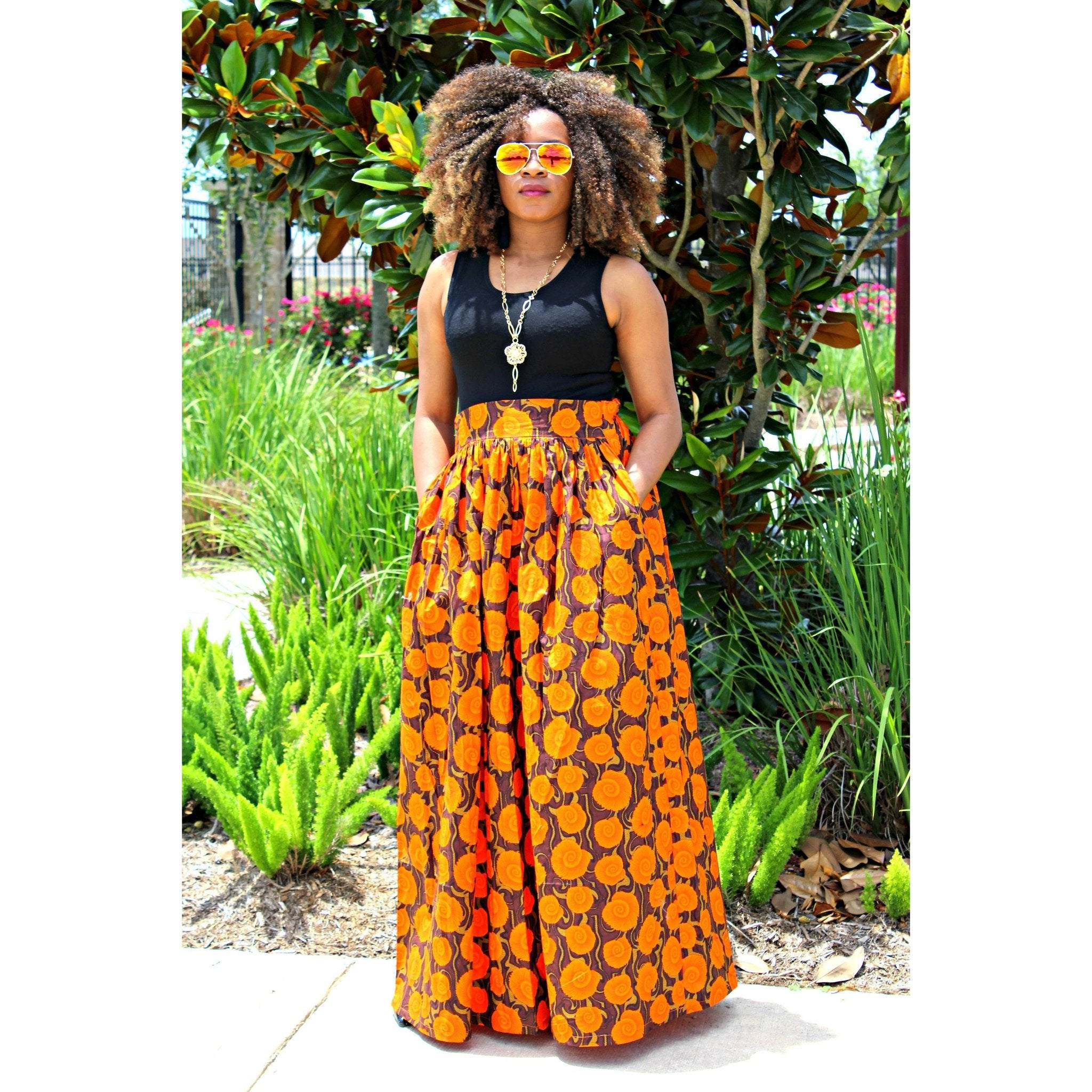 Olamide AFRICAN PRINT ANKARA MAXI SKIRT - Brown/Orange
