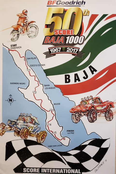 Commemorative Baja 1000 2017 Poster
