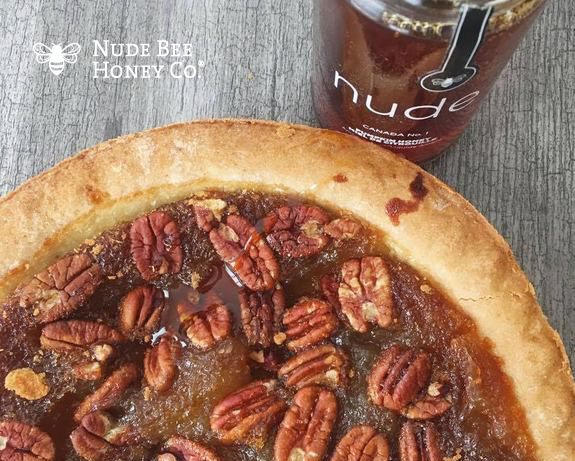 Glazed With Pumpkin Honey A Fresh Pecan Pie and a jar of Nude Bee Honey