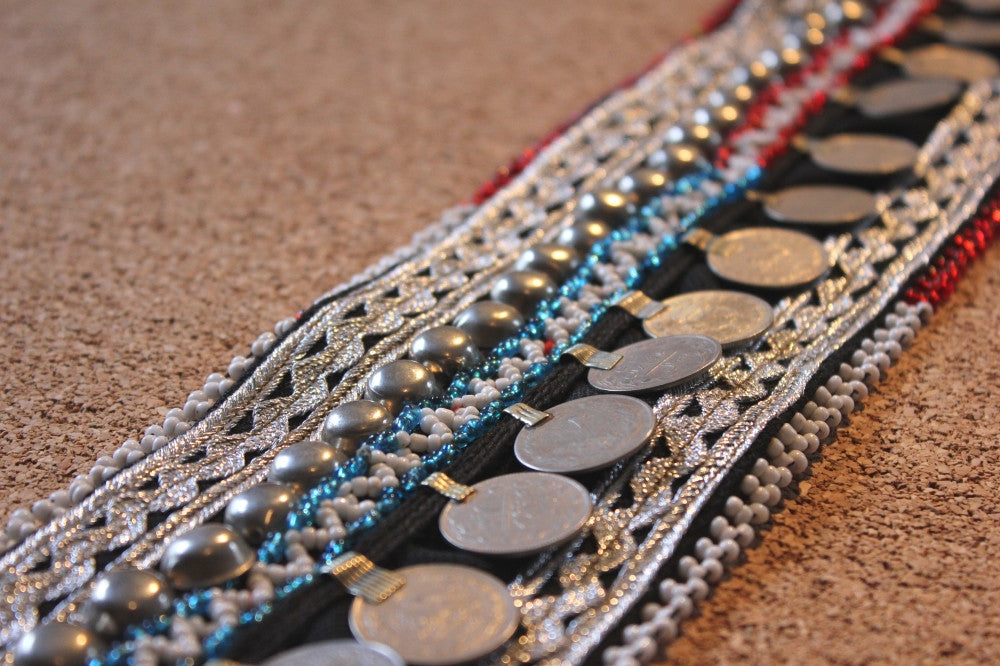 "28"" beaded belt base with coins close up"