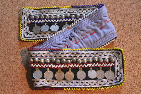 "28"" beaded belt base with coins"