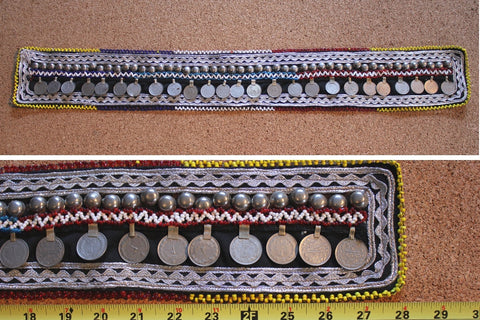 "28"" beaded belt base with coins full view"