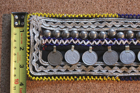 "4"" wide beaded belt base with coins"