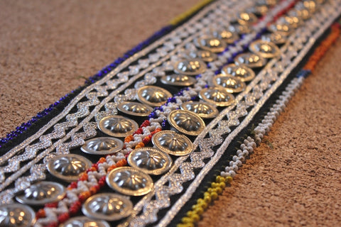 "29"" Beaded Belt Base With Metal Amulets"