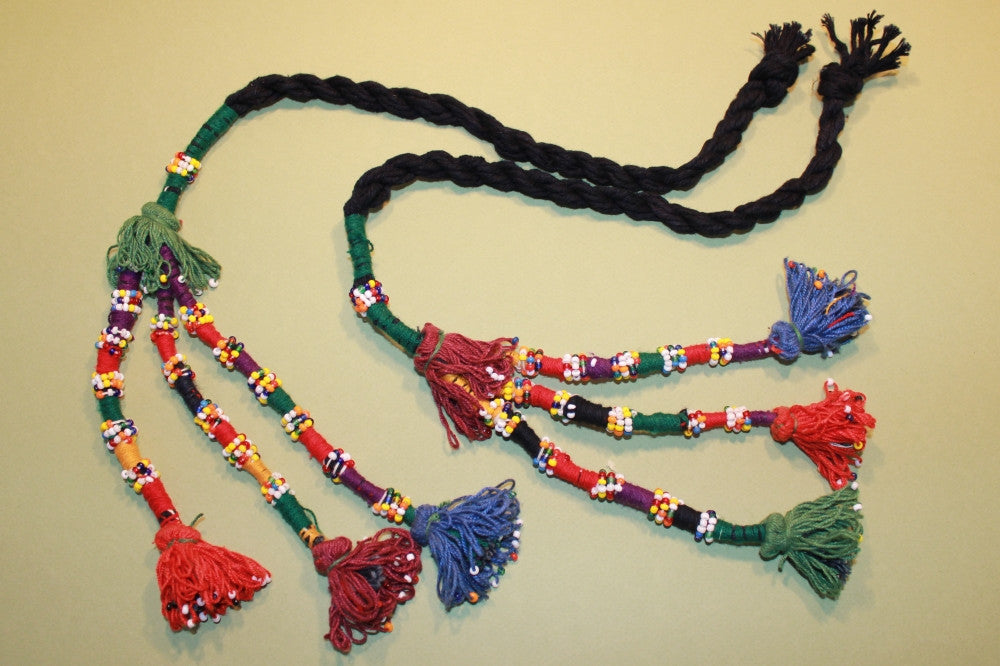 Pair of Multi Colored Cotton Beaded Tassels