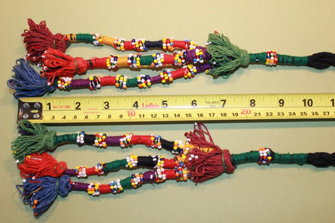 Pair of Multi Colored Cotton Beaded Tassels size reference