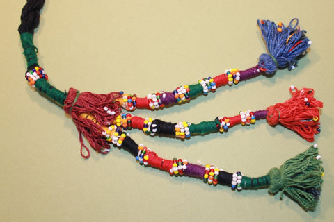 Pair of Multi Colored Cotton Beaded Tassels wine top