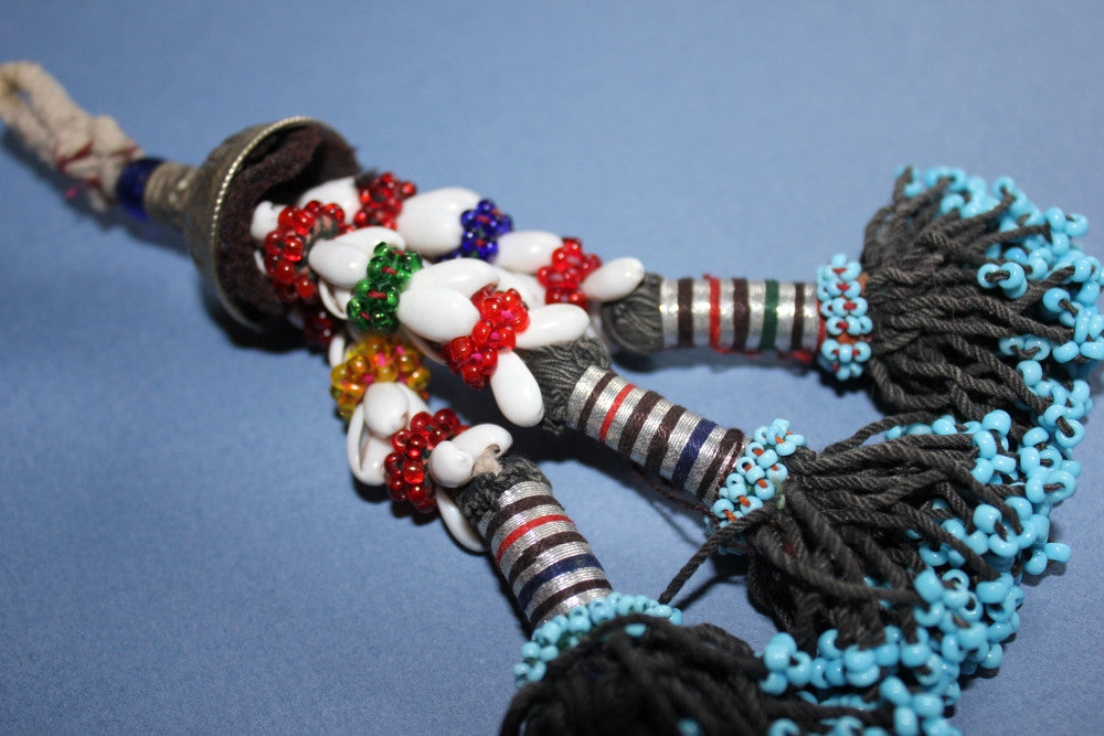 "6"" Beaded Tribal Tassel With Shells close"