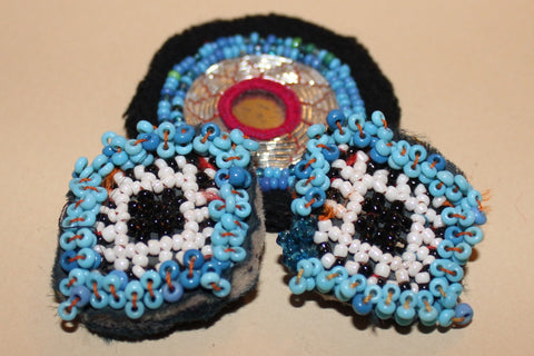 Blue Beaded Guls with Silver Embroidery close up