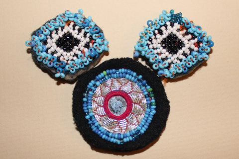 Blue Beaded Guls with Silver Embroidery