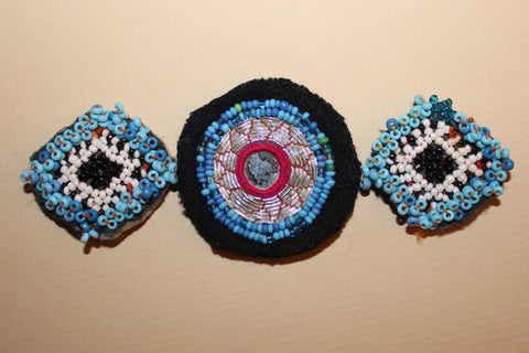 Blue Beaded Guls with Silver Embroidery close up 2