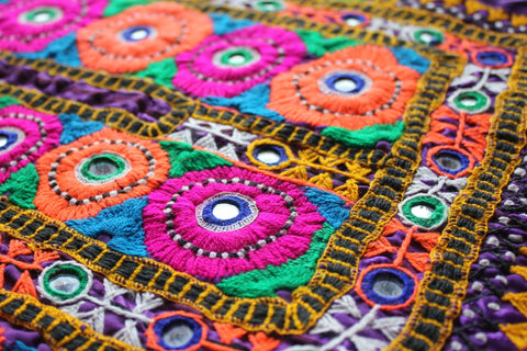 Bright Embroidered Tribal Dress Yoke close up