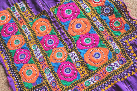 Bright Embroidered Tribal Dress Yoke close up 2