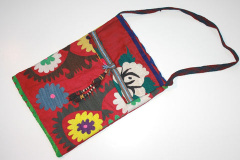 Embroidered Handbag / Laptop Case with Tassel